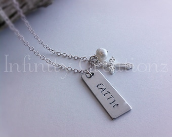 silver hand stamped faith cross pearl necklace gift, anniversary, valentines day, birthday, her, wife, girlfriend
