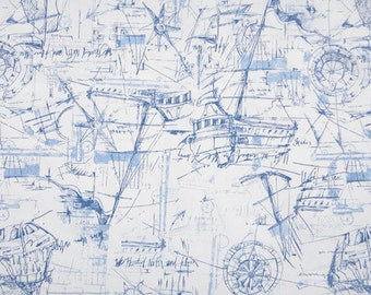 """NEW Premier Prints SCHOONER Nautical Print Blue Fabric 54"""" wide decorator Fabric By The Yard Fast Shipping"""
