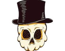 Skull in a hat tattoo sticker by Filip Gres