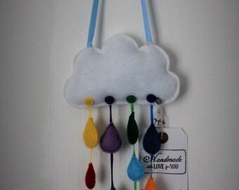 Felt Rainbow Rain Cloud Door Hanger
