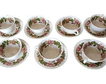 "SALE! Org 95.00  Set of 7 Wedgwood Tea set Marked ""Wildbriar / Wedgwood / Eteuria"" Floral"