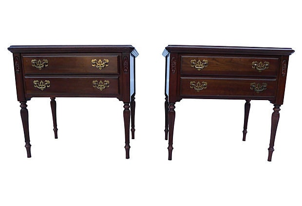 On Hold Vintage Ethan Allen Mahogany Night Stand Side Tables Haute Juice