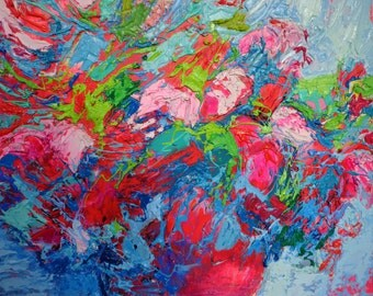 Pulsions floral - 2014 - original oil painting on board