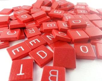 SALE! Pick your own letters: Original red wooden Junior Scrabble tiles