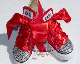 Custom Red Bling Converse Shoes for Girls - Infant to Youth Sizes - Rhinestones - Birthday - Holidays - Pageant - Party - High Fashion