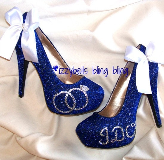Custom Royal Blue Bling Wedding Heels By IzzybellsBlingBling