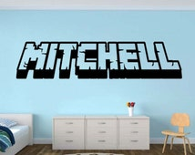 Personalized Gamer Name decal - Minecraft name - Gamer Name Inspired Minecraft Decal - 3d looking Gamer Room Wall Vinyl Decal Sticker