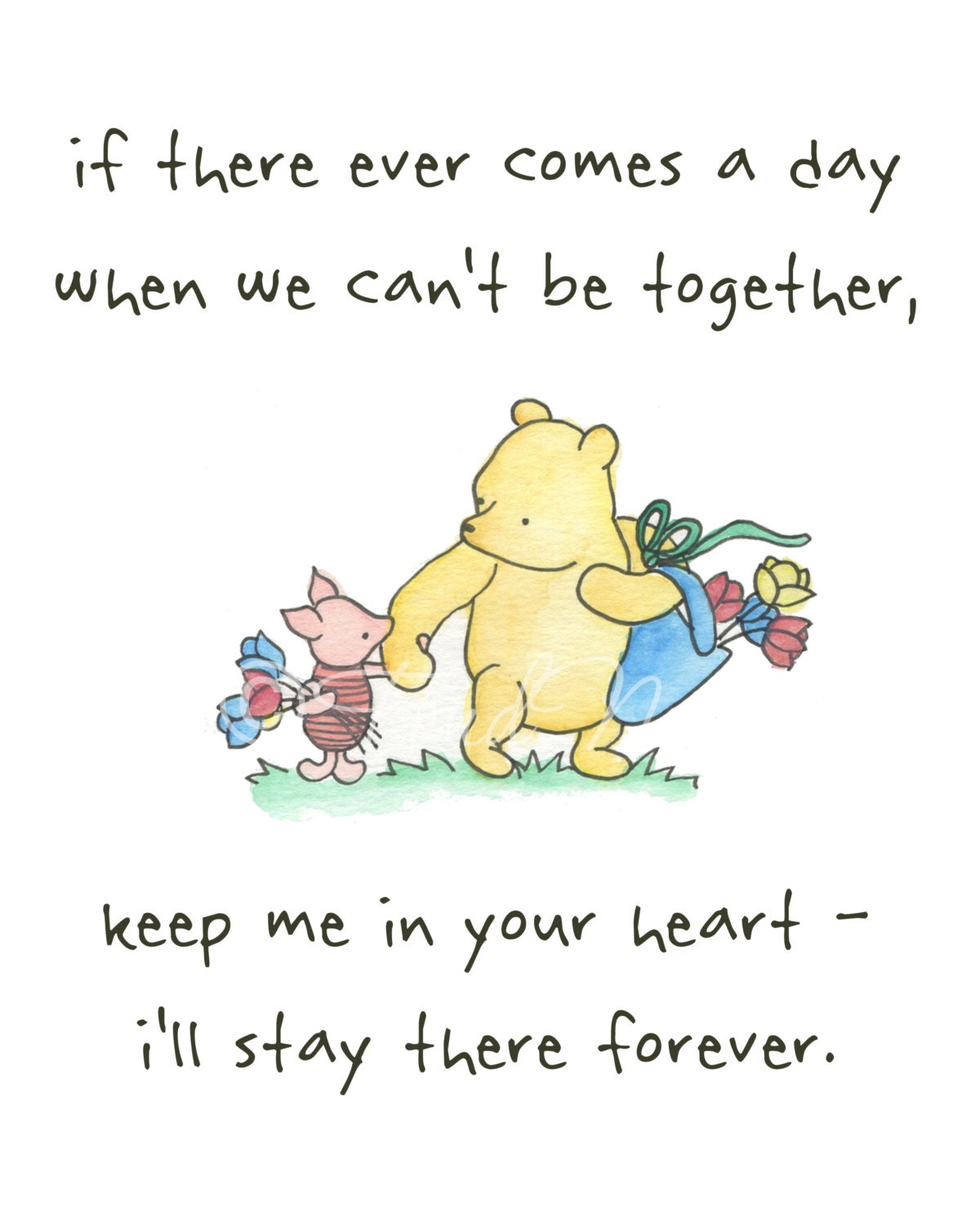 Piglet And Winnie The Pooh Quotes: Winnie The Pooh Piglet Cute Quote Watercolor Art By FondNest