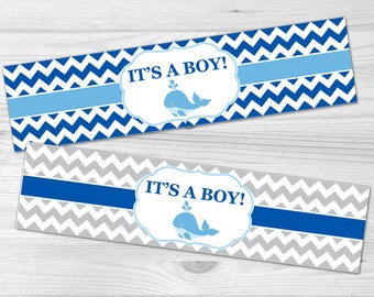 Water Bottle Label - DIY Printable Baby Shower Label: baby boy, blue, chevron, baby whale, navy
