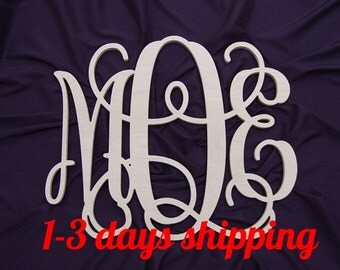 30 inch Wooden  monogram wall hanging wall monogram letters Unpainted