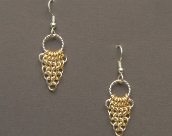 Petite Sterling Silver and Gold Filled Persian Cluster Earrings, Chainmaille Earrings, Sterling Earwires  (E38)