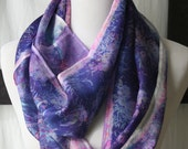 O'Keeffe's Petunias ...eco friendly, hand dyed, hand dyed with recycled silk, infinity style scarf