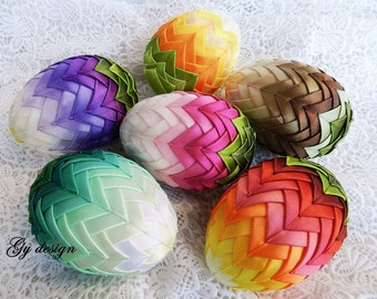 Ombre Easter egg decoration quilted ornaments ornament egg artichoke egg quilt  Easter decorations, happy Easter eggs decorated egg fabric