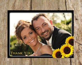 Sunflower Photo Thank You card, digital DIY printable