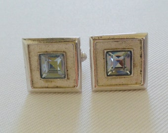 Vintage Square Silver Tone Cuff Links with Faceted Blue rhinestone Center  - Groom, Groomsmen, Gift, Formal Tuxedo Black Tie Wedding