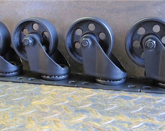 Set of 4 Industrial wheels , metal casters , steel wheels, ships internationally