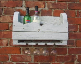 Hand crafted reclaimed wooden wine rack