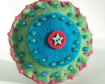 Felt Button Brooch-Pale Green Light Blue And Pink-Button Brooch-Perfect For Brightening Your Wardrobe