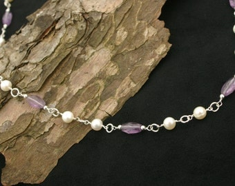 Handmade amethyst and freshwater pearl necklace