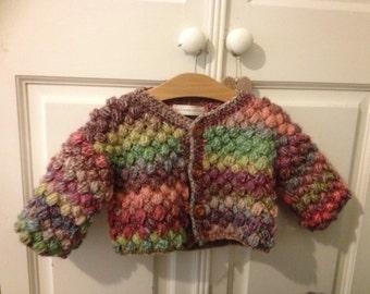 Child's Multi coloured Puff Stitch Cardian