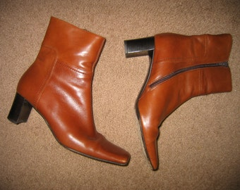 Italian Ankle Boots, Square Toe, Paloma Italy, Women's Boots, Soft Leather, Size 7.5 Med, Boots, Brown Boots, Leather Boots, Foot Fashion