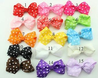 Nylon Ribbon Bows with Polka Dots - Choose One Color