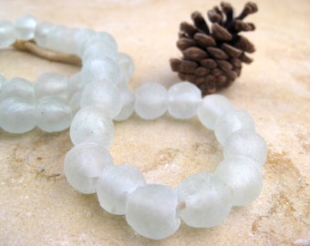 Clear Recycled Glass Beads: World's Most Eco-Friendly Beads! Ghana Beads - African Beads - Wholesale Glass Beads - Made of Bottles 507