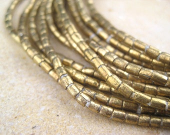 Small Brass Tube Beads From the Villages of Ethiopia! African Metal Beads - Brass Spacers - Wholesale African Beads - Brass Beads 203
