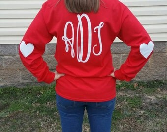 Valentine's Day Long Sleeve Monogrammed Tee Shirt