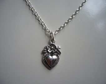 Flower Heart Necklace - Antique Silver Necklace - Miniature Heart Necklace - Metal Heart Necklace Pendant Charm - Nickel Free
