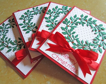 Wreath Christmas Cards - Embossed Christmas Card Sets - Holiday Cards - Boxed Christmas Cards - Holiday Card Set - Merry Christmas Card Sets