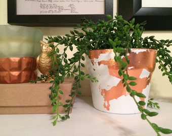 Copper leafed planter pot