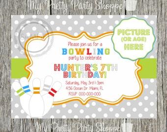 Boys Bowling Party / Birthday Party Invitation