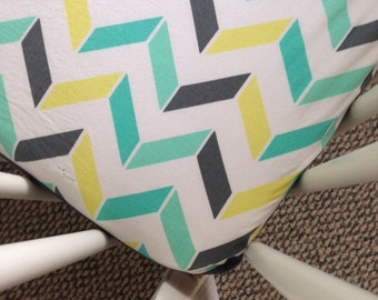 SALE! Two tone teal and gray chevron fitted crib sheet