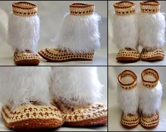 faux fur slippers crochet