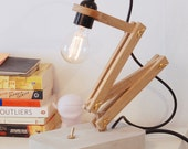 Wood and concrete desktop lamp