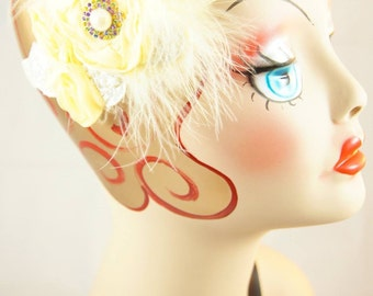 Adorable pale yellow flower headband