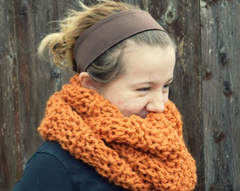 handknit oversized bulky scarf cowl - in pumpkin orange