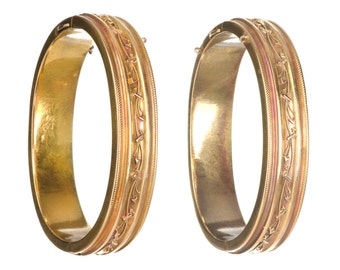 pair of 14k Etruscan Victorian bangle bracelets