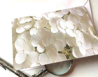 Floral Card White Hydrangea, 4x6 Feminine Note for Mother, Earth Day Spring Flower Photo Wedding Baby Shower card for Grandmother