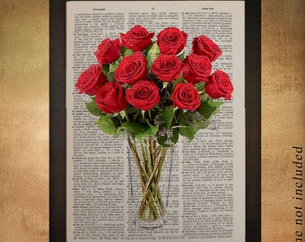 Red Roses Dictionary Art Print, Flower Bouquet Vase Glass Feminine Home Decor Wall Art Gift Ideas Mothers Day da595