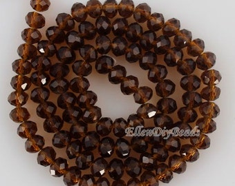 100 Pieces,New 6mm Romantic Brown Rondelle Faceted Crystal Beads, Brown Crystal Beads,1Strand,Gemstone Beads,Supplies-BR053