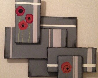 """Abstract Gray Painting with Poppies (appx 30""""Hx32""""W)"""