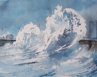 Watercolour painting 'Stormy Seas'