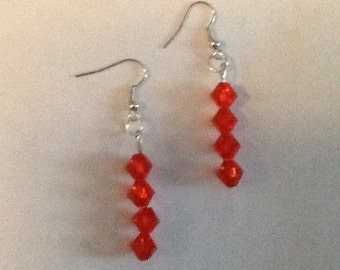 Red Faceted Bicone-Beaded Earrings with Surgical Steel Hooks