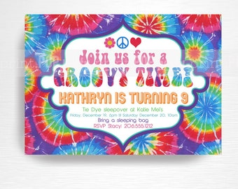 Tie Dye Birthday Party Printable Invitation YOU Print