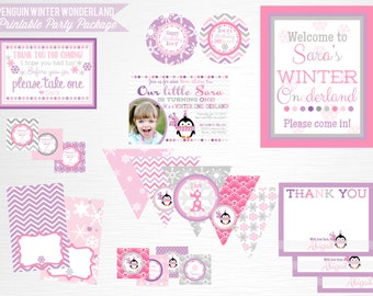 Purple Penguin Birthday Party Printable Package YOU PRINT Girl Penguin Party