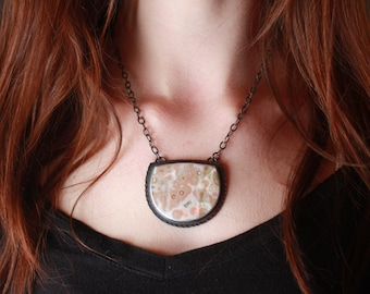 Reserved>>>Ocean Jasper, Sterling Silver Pendant, with coined edge
