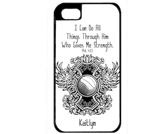 Volleyball Phone Case, iPhone 5 Case, iPhone 4 Case, iPhone 5C Case, iPhone Case, Samsung Galaxy, Volleyball Coach, Phil 4:13, iPhone 6