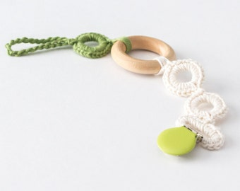 Pacifier Clip, Baby Boy Gift, Soother Clip, Baby Pacifier Clip Boy, Crochet Teething Ring, Wood Pacifier Clip, Wooden Teething Ring
